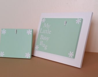 Baby Bug Combo Picture Frame set Green picture frame  baby picture frame 4 x 6 picture frame  5 x 7 picture frame clip picture frame white