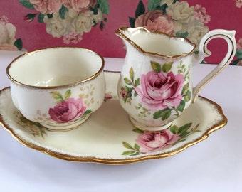 """Royal Albert """"American Beauty"""" English Fine Bone China Sugar Bowl and Creamer set, Vintage China Cream and Sugar bowl and Tray set"""