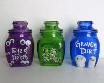 Hand-Painted Witches Potion Jars, featuring Eye of Newt, Night Crawlers, and Grave Dirt, set of 3