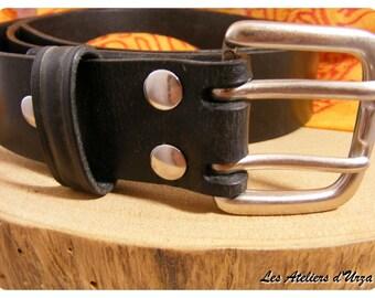 Black double buckle belt