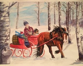 Decoration De Traineau De Noel En Peinture Originale