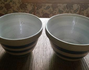 2 Cornishware pudding mixing bowls