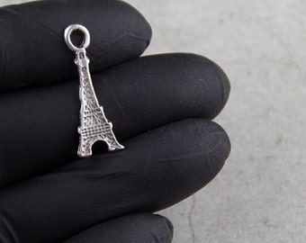 10x eiffel tower charms antique silver (ZM38)
