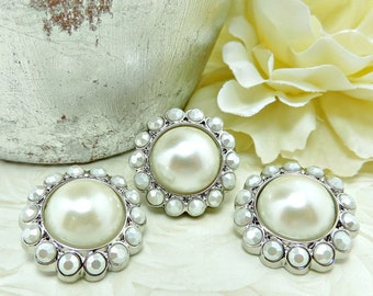 IVORY Pearl Rhinestone Acrylic Buttons W/ Crystal Clear Surrounding Rhinestones Garment Dress Coat Buttons Brooch Bouquet 26mm 3185 08 J2