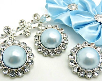 BABY BLUE Pearl Rhinestone Acrylic Buttons W/ Crystal Clear Surrounding Rhinestones Button Bouquet Garment Coat Buttons 26mm 3185 8P 2R