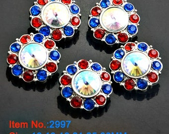 Wholesale 4Th Of July Rhinestone Patriotic Buttons Red White & Blue Plastic Acrylic Rhinestone Buttons DIY Embellishments 25mm 2997 14R 3 4R