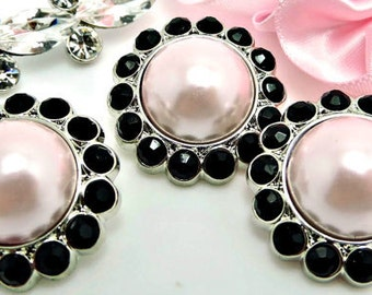 LIGHT PINK Pearl Rhinestone Acrylic Buttons W/ Brilliant Black Surrounding Rhinestones Button Bouquet Garment Coat Buttons 26mm 3185 2P 1R