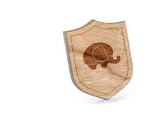 Elephant Lapel Pin, Wooden Pin, Wooden Lapel, Gift For Him or Her, Wedding Gifts, Groomsman Gifts, and Personalized