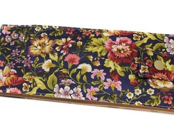 retro checkbook long flowered fabric