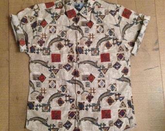 SALE - MENS   Vintage fish aztec style shirt   Size L - SALE