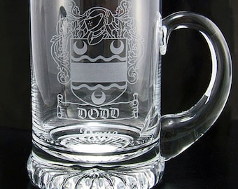 Family Crest Personalised Glass Tankard