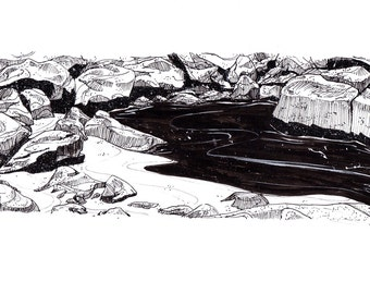 Drawing // A4 Rocky Shore Pen and Ink