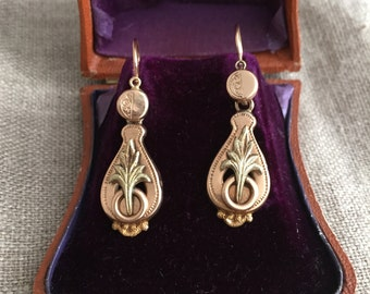 SALE: 40% off -- Victorian 14k Gold Day/Night Earrings