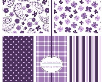 digital scrapbook papers - purple, paisley, butterfly, polka dot, plaid and stripe pattern - INSTANT DOWNLOAD