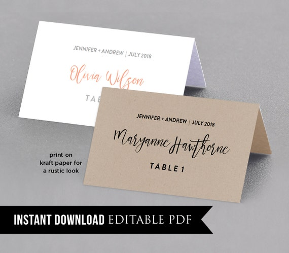 Wedding place card template table number name card seating for Table place cards