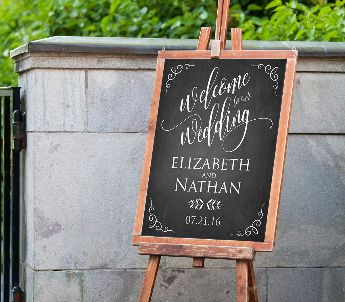 printable wedding welcome sign template rustic chalkboard. Black Bedroom Furniture Sets. Home Design Ideas
