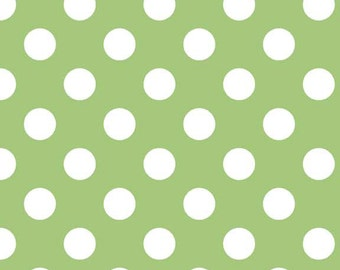 Riley Blake Medium Dot, White on Green,  fabric by the yard