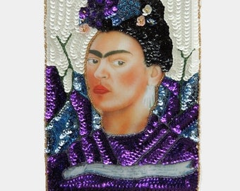 LARGE Frida Kahlo portrait Mexican Glitter Sequin applique patch