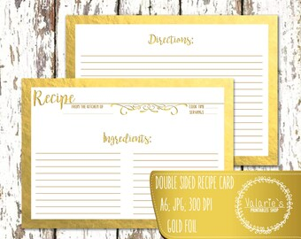 """Recipe Card Double Sided A6 Printable Recipe Card Gold Foil Kitchen Calligraphy JPG High Quality 300 DPI A6 - 4.1"""" x 5.8"""" Instant Download"""