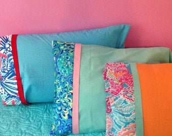 Custom Made Monogrammed Lilly Pulitzer Pillow Case