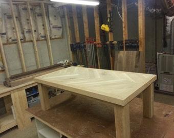 White oak coffee table with herringbone pattern