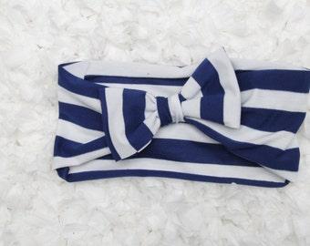 Navy and White Bow Turban