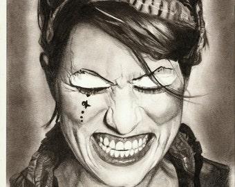 Amanda Palmer Realistic Pencil Portrait Print