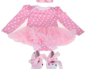 3 piece Infant Baby Girls Bow Headband+Tutu Dress+Shoes Romper Outfit