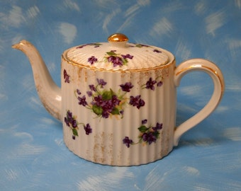 vintage Lefton teapot violets with gold trim