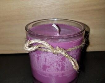 Purple organic vegan soy candle