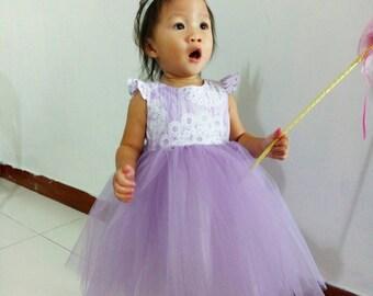 Custom made handmade princess tulle dress with flutter sleeves birthday dress, party dress, princess