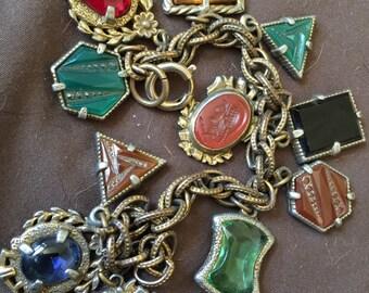 Vintage Old Intaglio Glass German Charm Bracelet