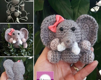 Elenfantino amigurumi, amigurumi, crochet, crocheted elephant Keyring