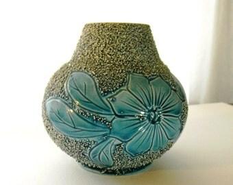 Majolica Blue Floral Vase Vintage - Sand Majolica Blue Vase Antique - Antique Majolica Vase