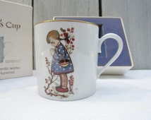 Hummel girl children's cup, 1976 Berta Hummel art, Schmid Brothers porcelain cup, vintage birthday cup, vintage collectible cup, 70s gift