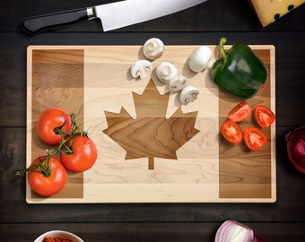 Rustic Home Decor Canadian Flag Cutting Board Maple Leaf Flag Wood Chopping Block Canuck Wedding Housewarming