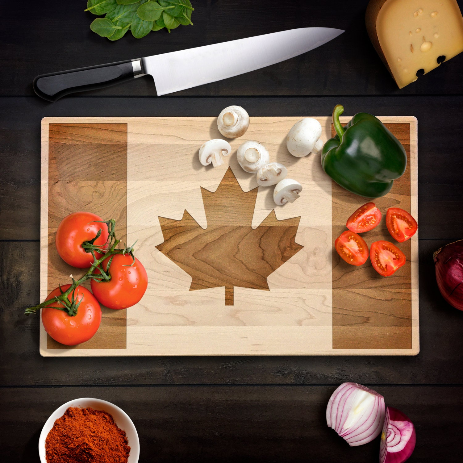 Rustic Home Decor Canadian Flag Cutting Board Maple Leaf Flag Wood