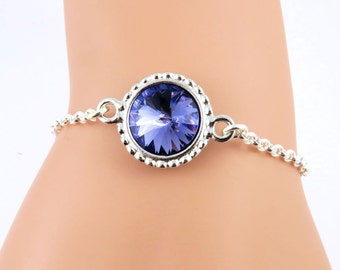 Tanzanite Bracelet, December Birthstone Bracelet, Tanzanite Crystal Bracelet, Tanzanite Jewelry, Swarovski Crystal Birthstones