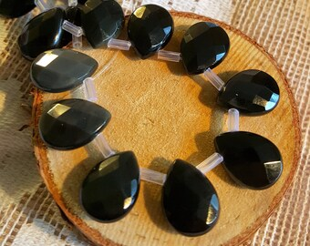 Rainbow Obsidian beads Tear drop shape dangle black faceted healing powers natural stone faceted  14mm by 10mm