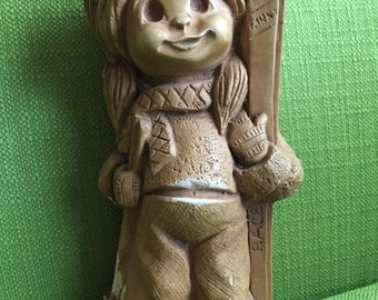 Vintage 70s Fannykins by Bill Mack Ski Queen Solar Statuary/Big Eyed Girl Holding Skis Figurine