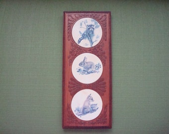 VIntage Woodland Animals Wood Wall Hanging