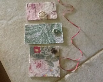 Gift tags/cards, 3, handmade of vintage barkcloth and antique buttons, blank