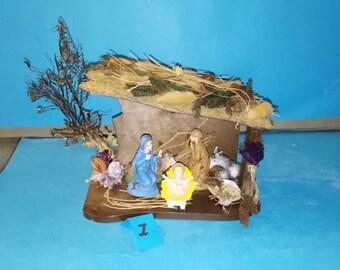 Christmas Crib Made out of black sea fan Sea shells dried leaves No 1