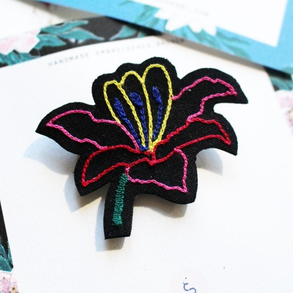 """Embroidered brooch """" Russian inspiration no1 """""""