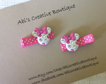 Minnie Mouse inspired hair clips/ white pink polka dot/ glitter bow rhinestones/ pigtails toddler girl