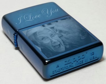 Custom Engraved Zippo Lighter, Personalized, Saphire Zippo, Engraved Zippo, Photo Engraving, Saphire Zippo, Anniversary Gifts, Special Gift