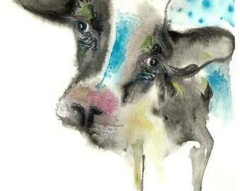 "Cow Watercolor Painting Modern art wall art home Déco  Art Print - 9 x13"""