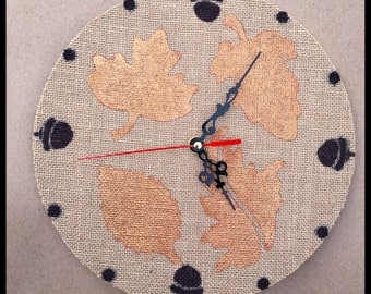 Hessian ( burlap) wall clock with autumn leaves & acorns