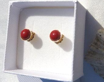 Red Howlite Earrings, Awareness Stone, Healthy Stone, Gold Earrings, Silver Earrings, Gemstone Posts, Minimalist Jewelry, Birthday.