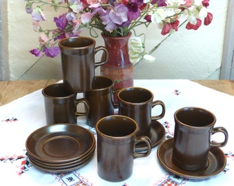 6 Wedgwood Mugs and matching Saucers - 1960s Wedgwood Mugs and Saucers - Retro Wedgwood - Vintage Wedgwood (stock#6289)